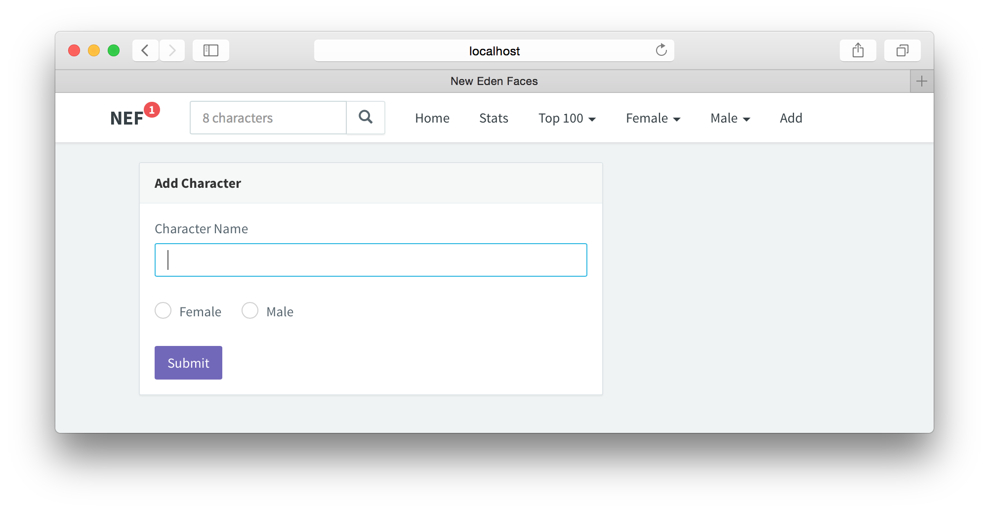 Create a character voting app using React, Node js, MongoDB and